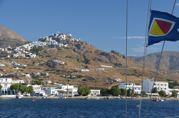A view of the ancient Chora on the island of Serifos from the town dock.